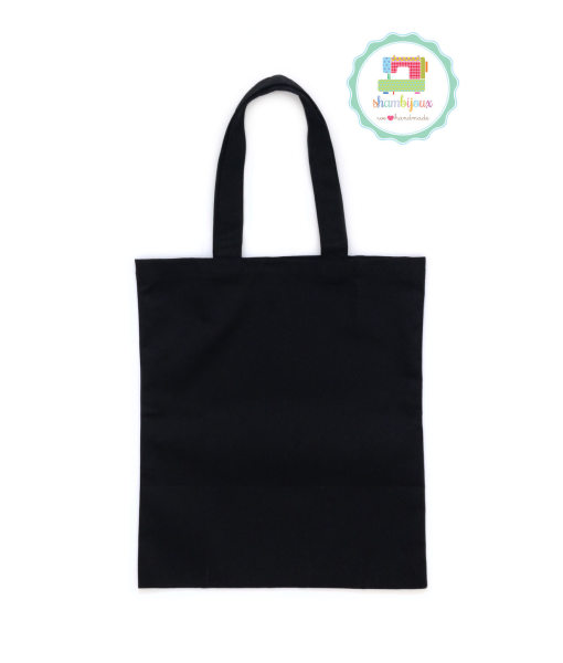 Black Plain Tote Bag With Fabric Strap 13×15