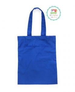 Blue Plain Tote Bag With Fabric Strap 13x15