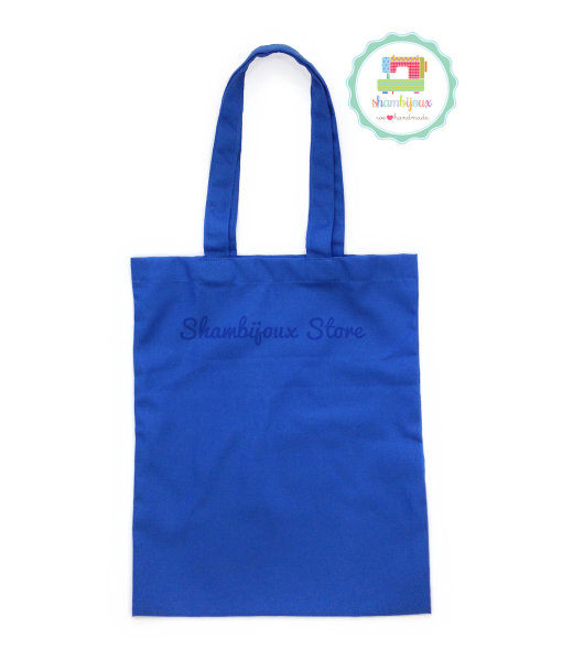 Blue Plain Tote Bag With Fabric Strap 13×15