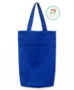 Blue Plain Tote Bag With Fabric Strap 14x20