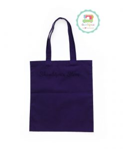 Purple Plain Tote Bag With Fabric Strap 13x15