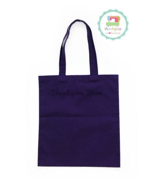 Purple Plain Tote Bag With Fabric Strap 13×15