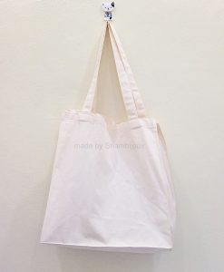Plain Tote Bag Fabric Strap Canvas Boxy 14x14x4