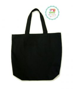 Black-Plain-Tote-Bag-With-Fabric-Strap-18x16