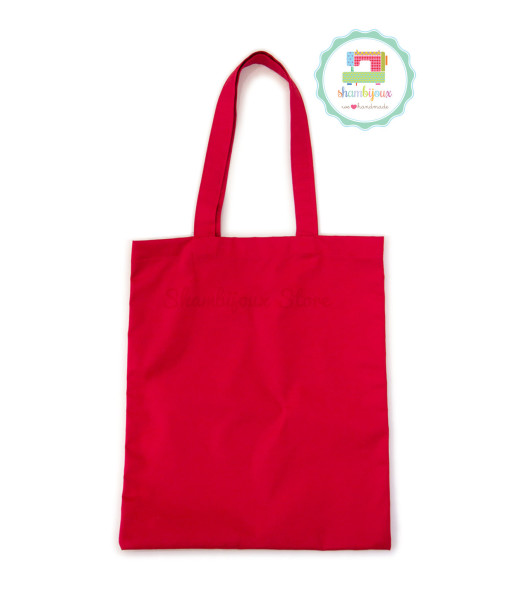 Red-Plain-Tote-Bag-With-Fabric-Strap-13×15