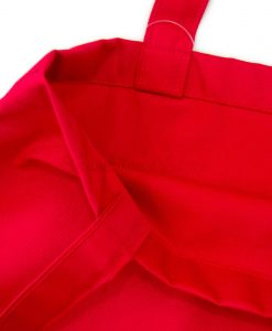 Red Plain Tote Bag With Fabric Strap 13x15 closeup
