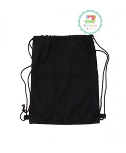 Drawstring Bag 14x19 Drill Black - back