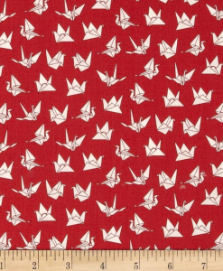 (Makower UK) Sakura, Cranes in Red